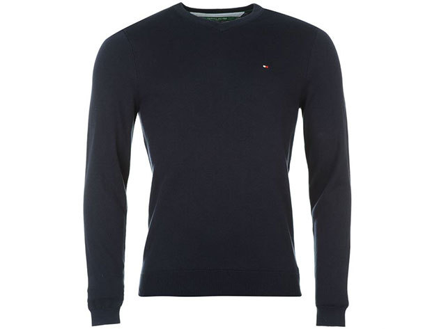 Tommy Hilfiger férfi V nyakú pulóver Preston V Neck Jumper Mens, 339134, navy - XL