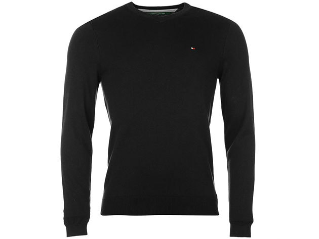 Tommy Hilfiger férfi V nyakú pulóver Preston V Neck Jumper Mens, 339134, black - XL