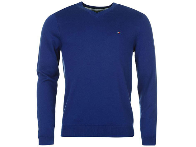 Tommy Hilfiger férfi V nyakú pulóver Preston V Neck Jumper Mens, 339134, royal blue - L