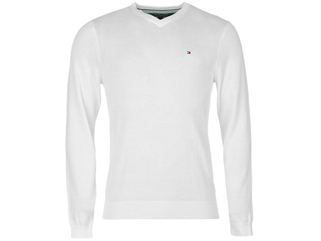 Tommy Hilfiger férfi V nyakú pulóver Preston V Neck Jumper Mens, 339134, white - XL