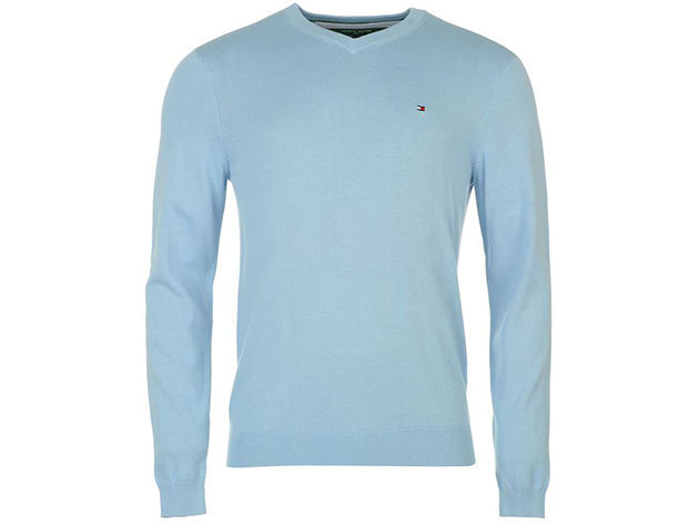 Tommy Hilfiger férfi V nyakú pulóver Preston V Neck Jumper Mens, 339134, light blue - XL