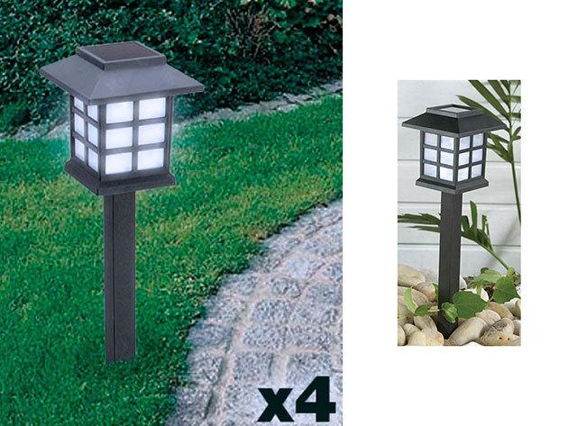 Napelemes lámpa igényes dizájnnakl (4-es kiszerelés) hangulatvilágítás az erkélyre vagy a kertbe