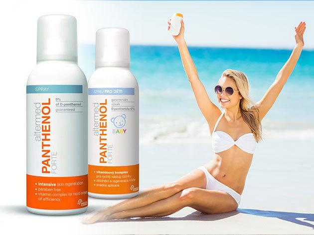 Panthenol Forte termékek bőrnyugtató és -megújító hatással, napégésre vagy csak napozás uáni bőrápolásra, a legkisebbeknek is / Aloe Vera, Baby, Ice Effect