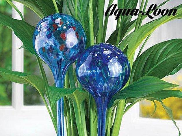 Aqua Loon öntöző gömbök szobanövényekhez, 2 darabos csomagban, kézzel készített, kék színű, dekoratív üveggömb, biztosítja a megfelelő vízellátást szabadságod alatt is