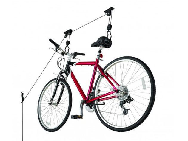 Kerékpárlift a mennyezetre, kis lakásokba vagy tárolókba, <br>20 kg-os teherbírással és a felszereléshez szükséges összes tartozékkal