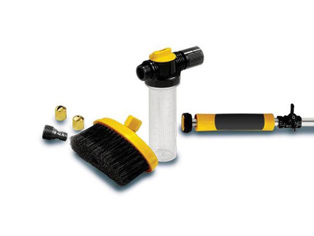 Nagynyomású vízágyús tisztító pisztoly, 6 kiegészítő fejjel, kefével, tartállyal