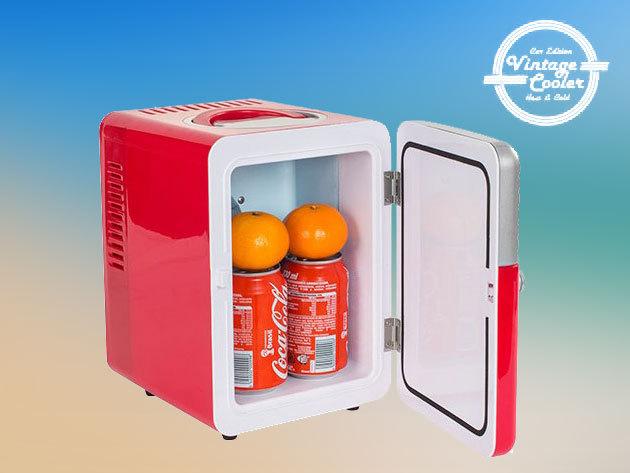 Vintage Retró Hűtőszekrény (5 literes) - konnektorról és szivargyújtótól is működtethető, hűtő és fűtő funkcióval