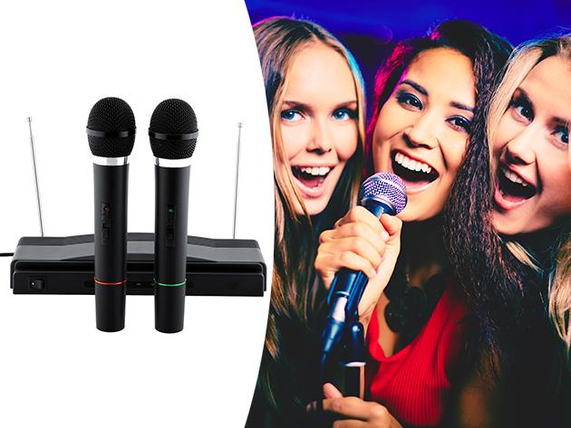 Vezeték nélküli karaoke szett 2 db mikrofonnal - házibulikhoz, különböző rendezvényekhez és karaoke partikhoz