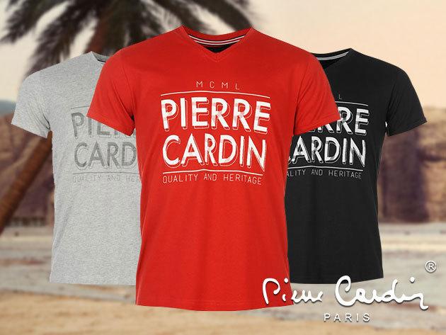Pierre Cardin V nyakú férfi póló, M-XXL méretben, fehér, fekete, piros és szürke színben