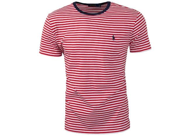 Ralph Lauren Csíkos férfi póló (piros) - XXL