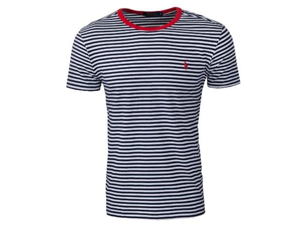 Ralph Lauren Csíkos férfi póló (kék) - L - AZONNAL ÁTVEHETŐ