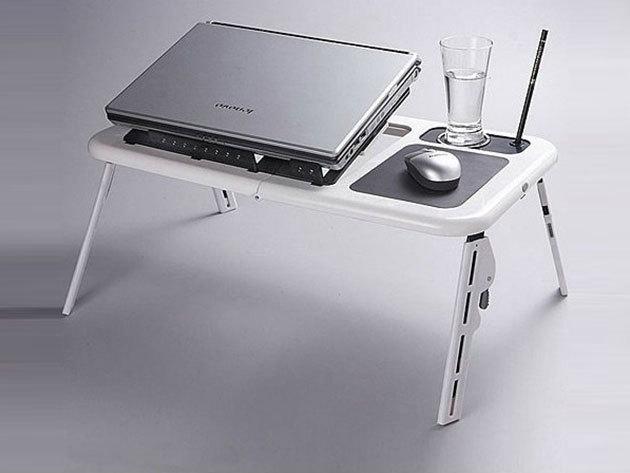 4f7f5b3267cb Laptoptartó asztal hűtő ventilátorokkal - állítható magasságú, összecsukható,  pohár és egértartóval. Vv_badge_heart_3. 3. 01_large
