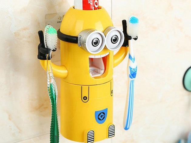 Minyonos automata fogkrémadagoló fogkefetartóval és pohárral, tapadókoronggal, higiénikus megoldás gyerekeknek és a mókás kis sárga lények kedvelőinek