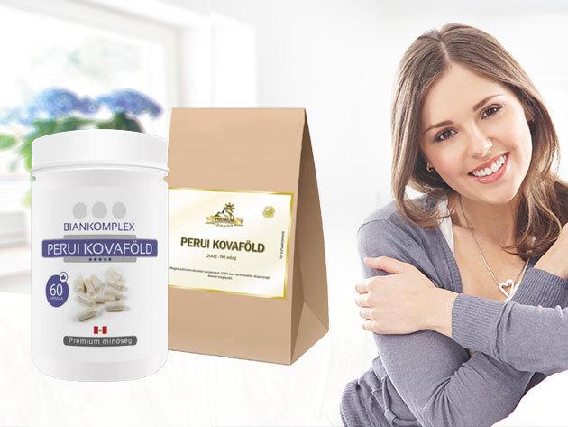 Prémium perui kovaföld 200 grammos por vagy 60 darab kapszula formájában, segít kivezetni a baktériumokat, vírusokat és nehézfémeket a szervezetből
