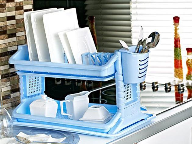 Konyhai csepegtető a mosogató mellé, kék vagy fehér színben, helytakarékos megoldás az edények, evőeszközök szárításához