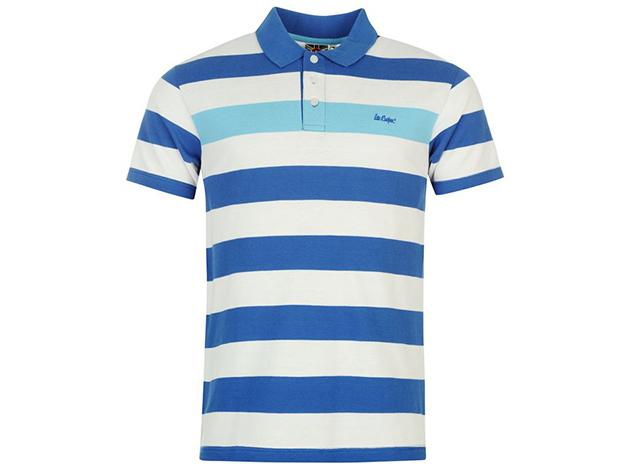 Lee Cooper Stripe férfi galléros póló - királykék/fehér/kék csíkos - 54923121 - L - AZONNAL ÁTVEHETŐ