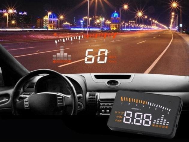 Head Up Display - Szélvédőre vetítő fedélzeti computer (OBD HUD) - sebesség, fordulatszám kijelzés, és figyelmeztetések: motorhőmérséklet, akkumulátor feszültség, gyorshajtás