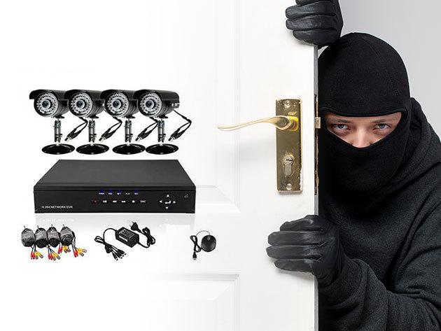 Komplett megfigyelő rendszer 4 db mozgásérzékelős kamerával / 0-24 órás védelem - Tartsd szemmel otthonodat a távolból!