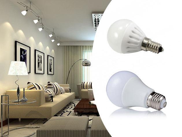 """LED izzók - """"gömb"""" alak, választható E27 vagy E14-es foglalat, 25x tartósabb mint hagyományos társai"""