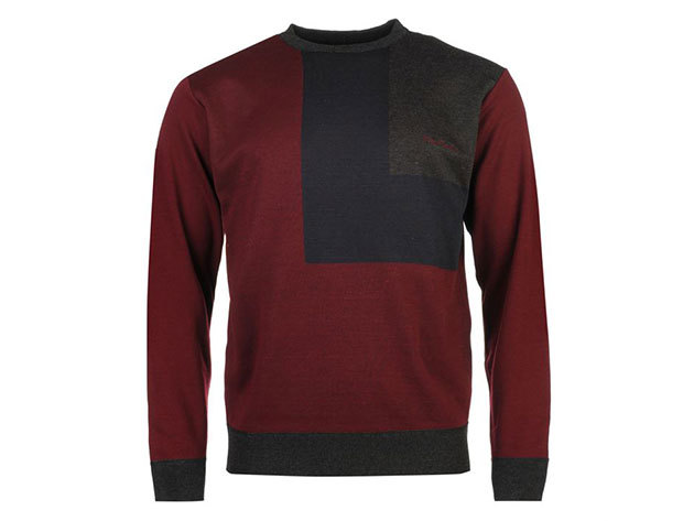 Pierre Cardin Block Knit Jumper Mens, férfi pulóver  (559308) - burgundy-navy  - S