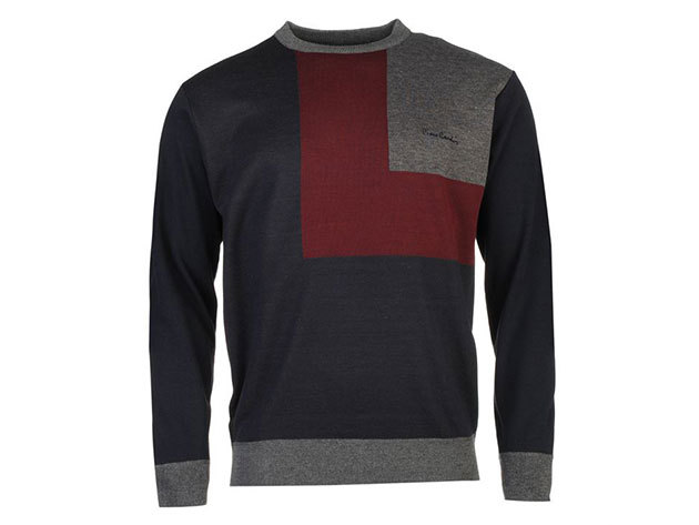 Pierre Cardin Block Knit Jumper Mens, férfi pulóver  (559308) - navy-burgundy  - XL