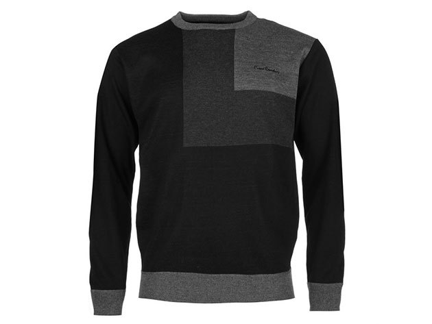 Pierre Cardin Block Knit Jumper Mens, férfi pulóver  (559308) - black-grey  - L