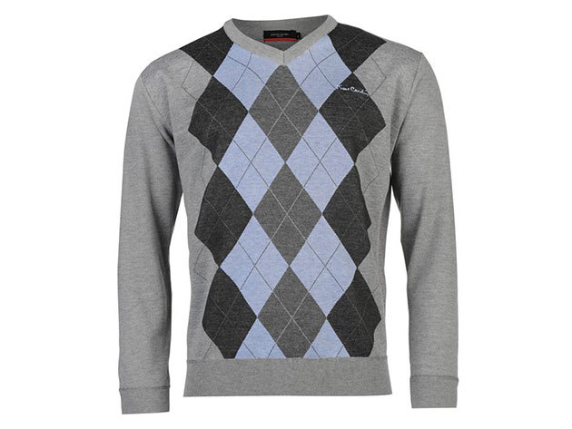 Pierre Cardin Argyle Knit Jumper Mens, férfi pulóver  (559307) - grey blue  - L