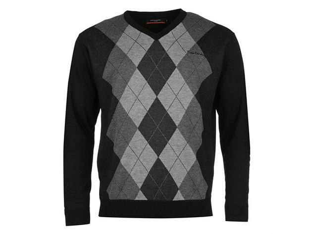 Pierre Cardin Argyle Knit Jumper Mens, férfi pulóver  (559307) - black-charcoal  - XXL