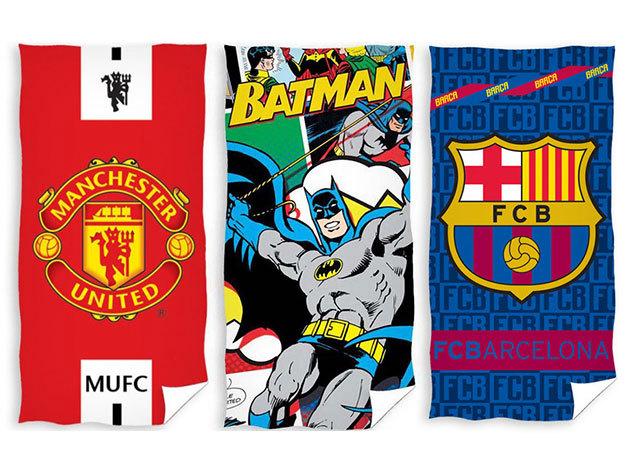 Törölközők szuperhősös és futball szurkolói mintákkal - Superman, Batman, Barceolona, AC Milan... stb.