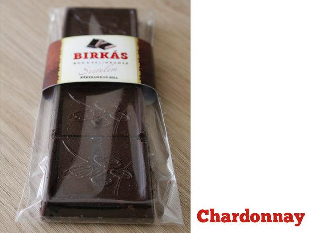 Chardonnay 'Szeretet'  fehérborból készült Birkás Borcsokoládé (100 g)