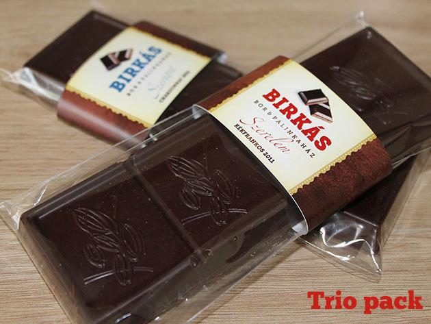 Trio Pack Birkás Borcsokoládé (1 db Chardonnay 'Szeretet', 1 db Kékrankos 'Szerelem', 1 db Jégboros csoki)
