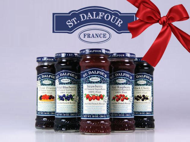 St. Dalfour francia lekvárok cukor hozzáadása nélkül, magas gyümölcstartalommal - 2 db vásárlása esetén porcelán kanállal, díszdobozban