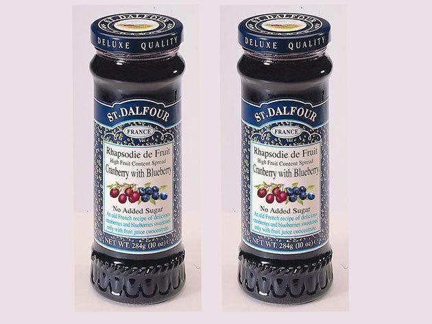 St. Dalfour lekvár Duo pack mutatós dobozban, porcelán kanálkával - vörös és kék áfonya
