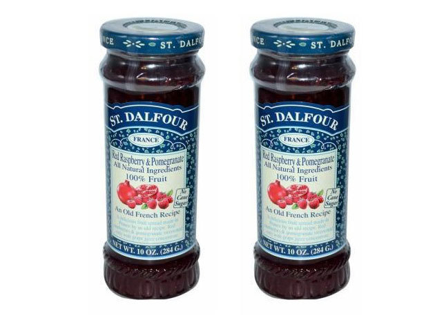 St. Dalfour lekvár Duo pack mutatós dobozban, porcelán kanálkával - málna - gránátalma