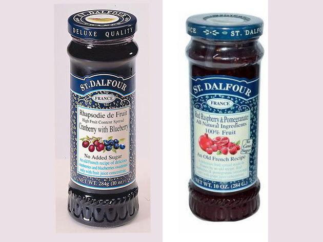 St. Dalfour lekvár Duo pack mutatós dobozban, porcelán kanálkával - málna - vörös és kék áfonya