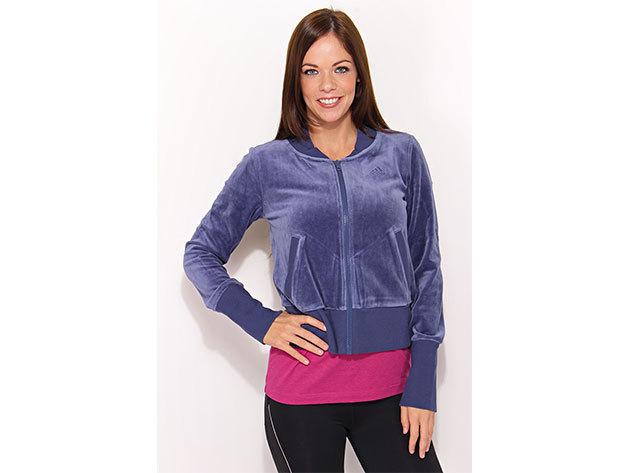 Adidas Velvet Tracktop, női cipzáras pulóver  (O06232) - kék - 34
