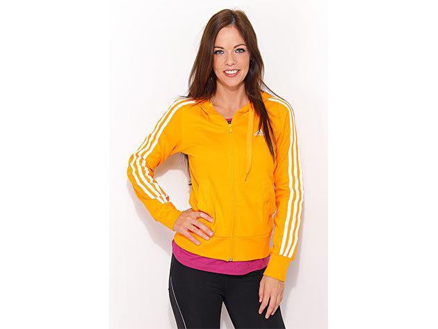 Adidas Ess 3S Hood JKT, női cipzáras pulóver  (P03549) - narancssárga - 34