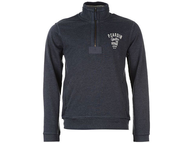 Pierre Cardin Fleece Sweater Mens, férfi felül zippes felső  (554196) - denim marl - S