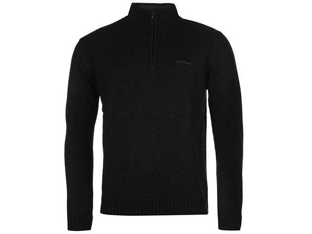 Pierre Cardin Quarter Zip Jumpers Mens, férfi felül zippes pulóver  (559300) - black  - S