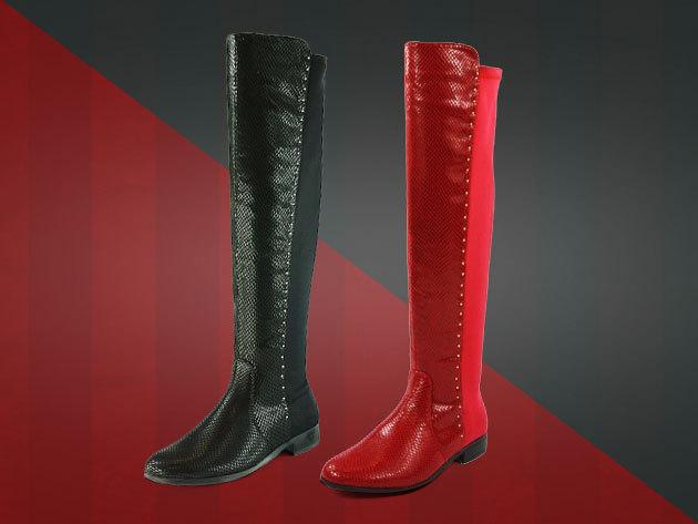 Padini női csizma fekete és piros színben - térdig érő csinos 8d34d78b79