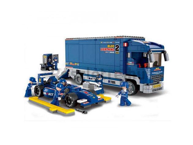 Sluban Formula1 versenyautó szállító kamion