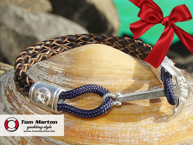 Tom Marton Exclusive, 100% kézimunkával készült karkötő - ezüst csat, fonott bőr szíj, karácsonyi csomagolásban