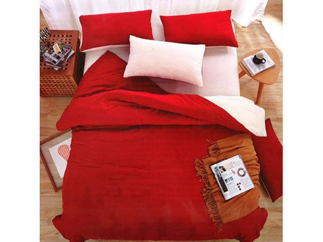 Kétszínű -3 részes ágyneműhuzat garnitúra (Piros)