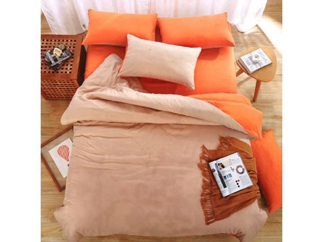 Kétszínű -3 részes ágyneműhuzat garnitúra (Narancssárga)