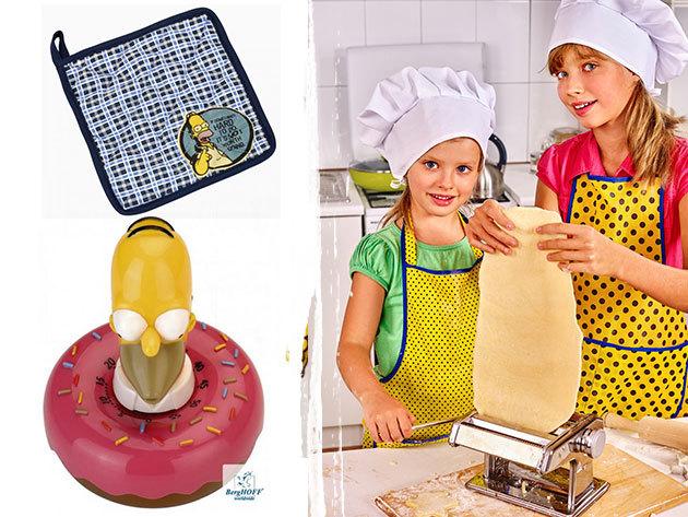 BergHOFF Simpsons konyhai kiegészítők: vágódeszka, pohárkészlet, konyhai időzítő, sütőkesztyű és gyerek kötény