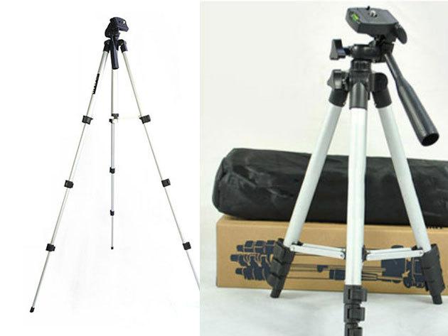 Fényképezőgép és mobiltelefon állvány - kicsire összecsukható, teleszkópos lábakkal és panoráma fejjel
