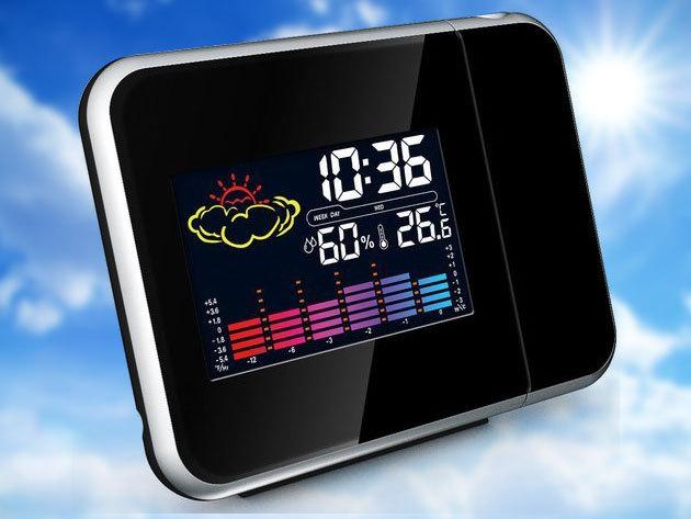 Időjárás állomás és projektoros óra színes kijelzővel - hőmérővel páratartalom mérővel, ébresztő- és szundi funkciókkal