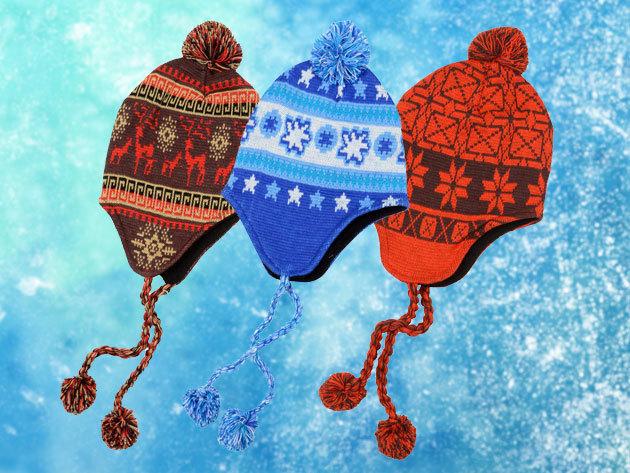 Trendi téli sapka polár belsővel 9 színben, verhetetlen áron - norvég minták, puha meleg bélés, finomkötött anyag