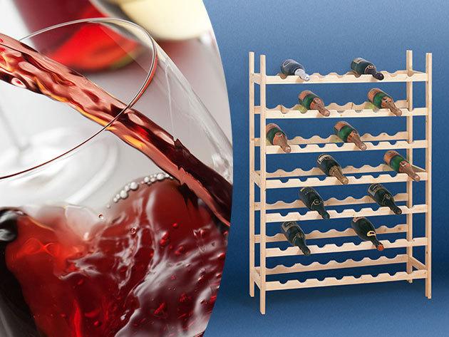 Bortartó állvány fából - férőhely 56 palack számára, hogy féltve őrzött nedűidet ideális helyen tárolhasd