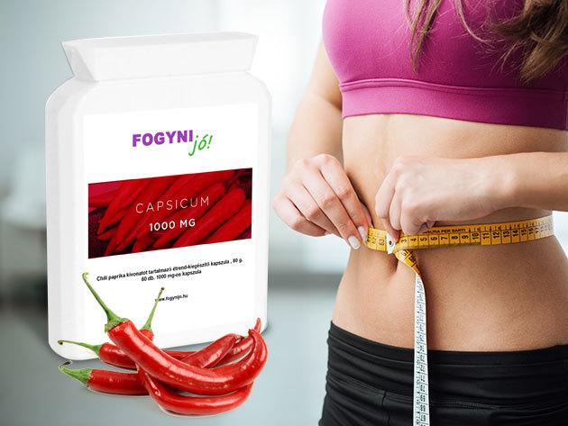 Capsicum 1000 - Chili paprika kivonatot tartalmazó étrend-kiegészítő kapszula zsírégető hatással (60 db) / Fogyni jó!